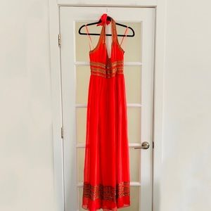 Adrianna Papell Embellished Grecian Halter Gown